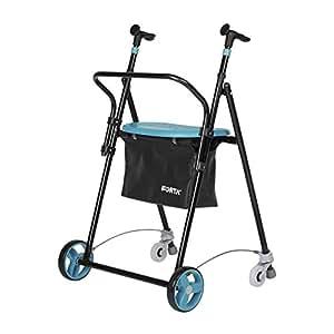 Andador para ancianos | De hierro plegable | Con frenos traseros| Con cesta asiento y respaldo | Color esmeralda: Amazon.es: Hogar