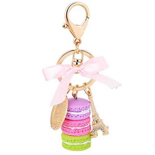 Song Macaron Eiffel Tower Cute Pendant Bag Charm Purse Keychain Keyring Gift