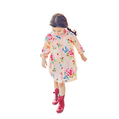 Girls Rain Slicker (Children's Peony Print Hooded Waterproof Raincoat, Christmas Gift Idea)