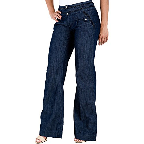 s S&P Women Indigo Blue Denim Wide Leg Trouser Jeans Leather Piping 2 Button Waist (Flap Pocket Wide Leg Jeans)