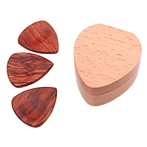 Flameer Wooden Guitar Pick Plectrum Box+3pcs Heart Shaped Pick for Guitar Parts Accessories - Rosewood, as described (Heart Guitar Shaped)