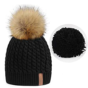 FURTALK Women Winter Knitted Pom Beanie Fur Hat Big Pom Pom Hat Women Crochet Knit Bobble hat