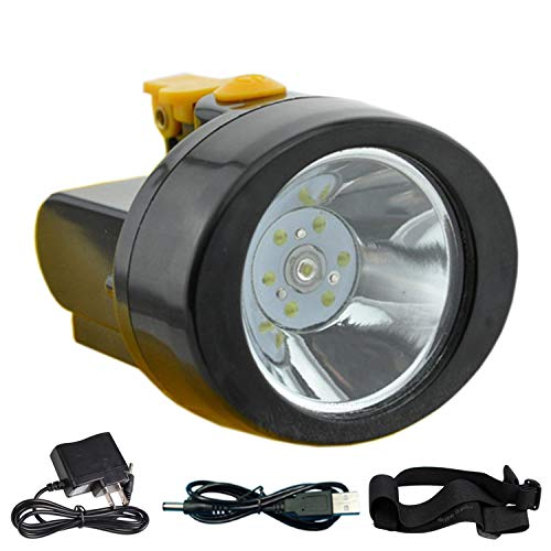 ACMENOVO LED Waterproof Headlamp 2800mah Lightweight Rechargeable Flashlight Head Light Miner Cap Lamp for Hard Hat, Hiking, Hunting, Fishing, Camping, Outdoor, Coal and Mining