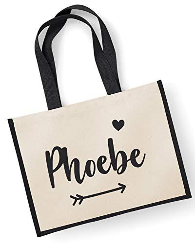 Jute Bag Personalised 42x33cm Black Name YBn5BqxU