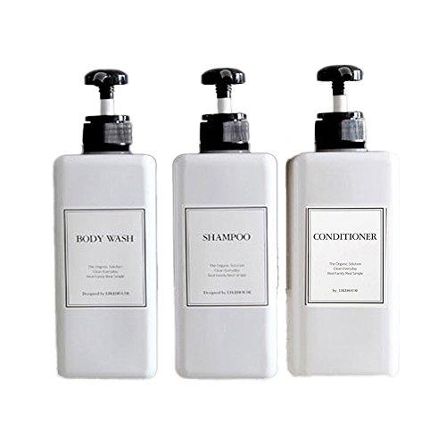 LIKEHOUSE CNC 27.05 oz Pump Bottle of The Bathroom, Waterproof Label Sticker,Pack of 3, Shower Plastic Bottles, Empty