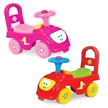 my first ride kids push along car available in a choice of red or pink