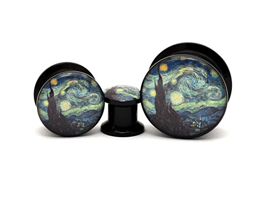 Mystic Metals Body Jewelry Black Acrylic Starry Night Picture Plugs - Sold as a Pair (00g (10mm))