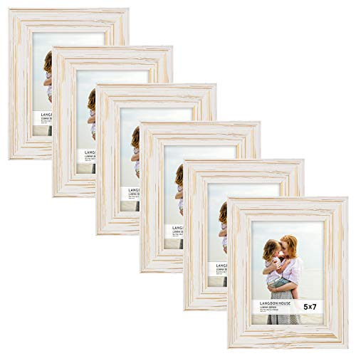 Langdons 5x7 Real Wood Picture Frames (6 Pack, Weathered White - Gold Accents), White Wooden Photo Frame 5 x 7, Wall Mount or Table Top, Set of 6 Lumina Collection ()