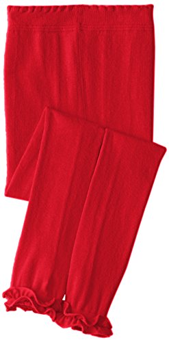Jefferies Socks Little Girls'  Pima Cotton Ruffle Footless Tights, Red, 6-8 Years