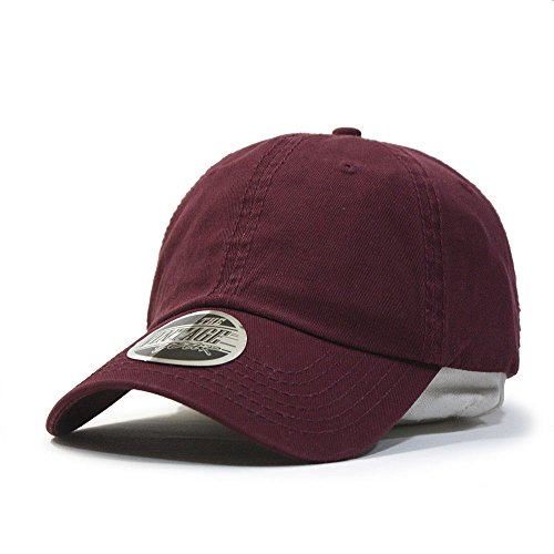 (Classic Washed Cotton Twill Low Profile Adjustable Baseball Cap (Maroon))