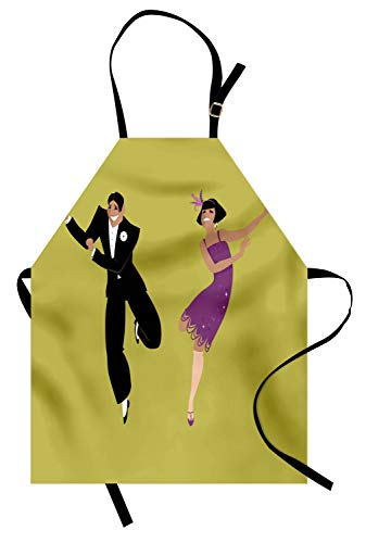 Lunarable Dance Apron, Happy Young Couple Dressed in 1920s Fashion Dancing The Charleston, Unisex Kitchen Bib Apron with Adjustable Neck for Cooking Baking Gardening, Pistachio Green -