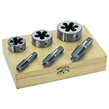 6PC 1/4 3/8 1/2 STEEL TAP & DIE TOOL THREADER THREAD KIT PIPE THREADING by Drill Bits