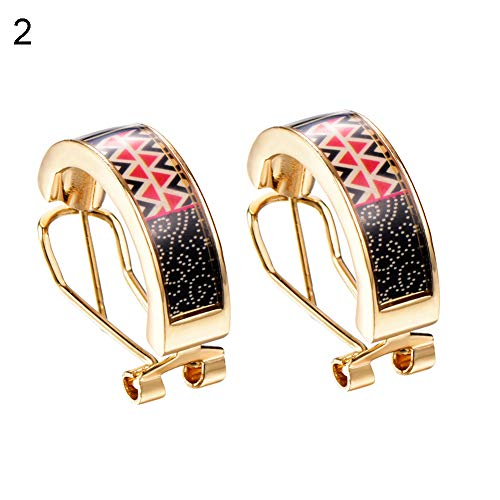Opeof Earrings 1 Pair Fashion Women Enamel Colours Hoop Huggie Earrings Party Jewelry Gift - 2#