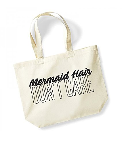 Mermaid Hair, Don't Care - Large Canvas Fun Slogan Tote Bag Natural/Black