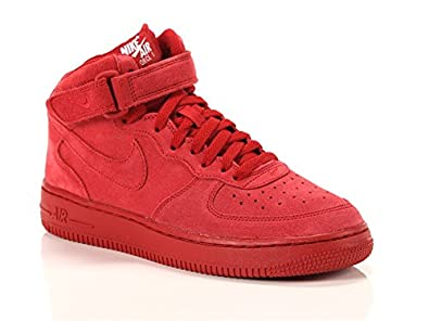 Amazon.com: Nike Air Force 1 MID Gym Red/Gym Red-White (Big ...