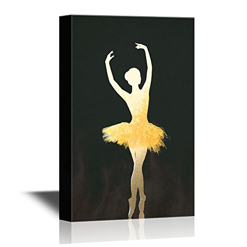 wall26 - Canvas Wall Art - Golden Silhouette of Ballet Dancer on Pointe - Gallery Wrap Modern Home Decor | Ready to Hang - 24x36 -