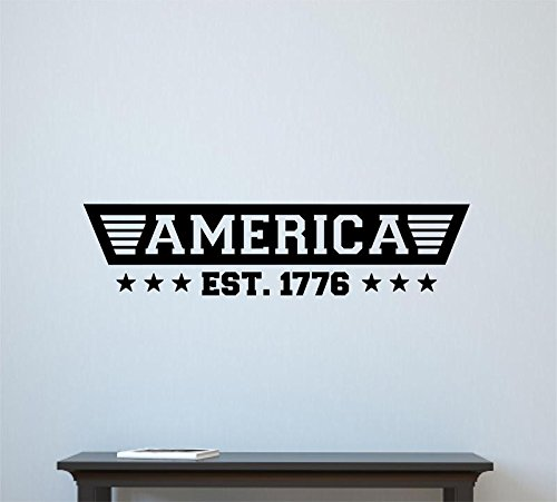 Enchantingly Elegant America Est. 1776 4th of July Decor Vinyl Decal Wall Decor Stickers Words  Lettering Home Decor Art 36x9