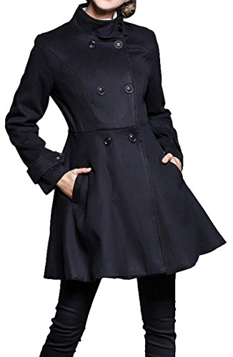 Zago Womens Casual Double-breasted Trench Coat Mid-Length Peacoat Overcoat Black XS
