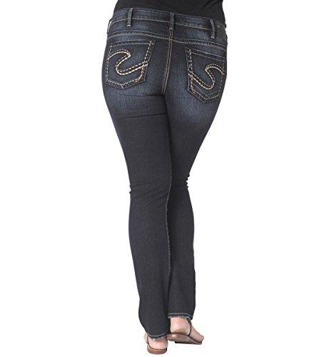 Silver Jeans Junior's Plus-Size Aiko Mid Slim Bootcut Jean, Indigo, 20