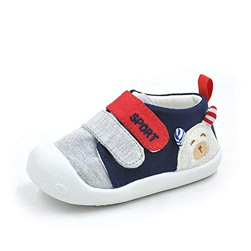 Baby Shoes for Boys Girls First Walkers Cute Bear Toddler Sneakers Prewalkers Soft Rubber Sole,Newnavy,US Size 5;Insole Length:13cm/5.12 inches