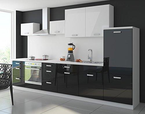 Küche Color 340cm Küchenzeile Küchenblock Einbauküche in Hochglanz Schwarz/Weiss