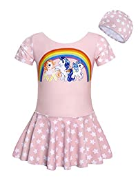Cotrio Unicorn Dinosaurs Swimsuit Kids Girls UPF 50+ Rash Guard Shirts Swimwear