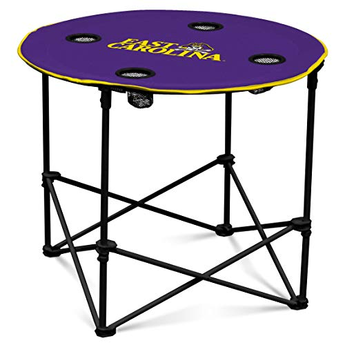 East Carolina Pirates Collapsible Round Table with 4 Cup Holders and Carry Bag