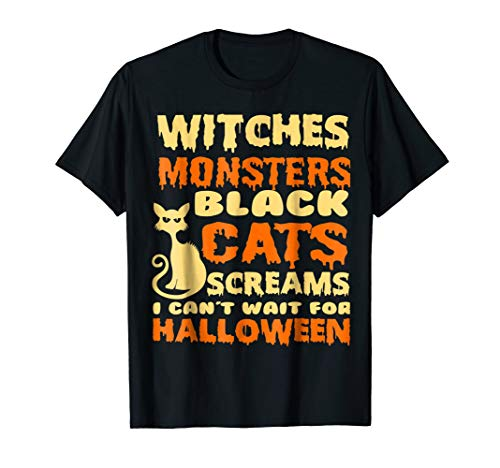 witches funny halloween custumes tshirts for black cat lover