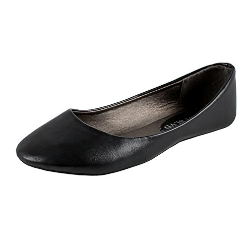 West+Blvd+Womens+BALLET+Flats+Slip+On+Shoes+Ballerina+Slippers%2C+Black+Pu%2C+US+10