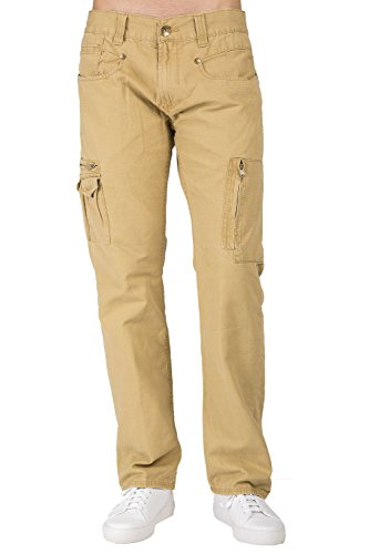 Level 7 Men's Tan Garment Washed Premium Canvas Relaxed Straight Utility Jeans Cargo Zipper Pocket