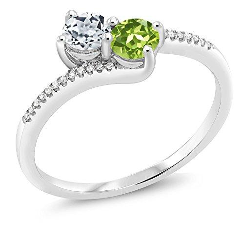 Gem Stone King 10K White Gold Forever United 2-stone Diamond Engagement Ring 0.80 Ct Round White Topaz Green Peridot (Size 9)