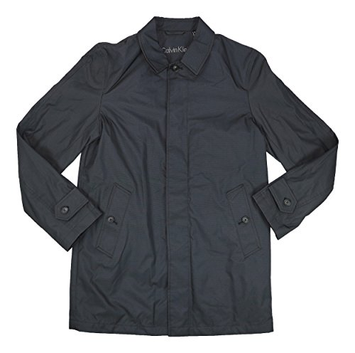 Calvin Klein Mens Water Repellent Button Down Raincoat Black 36S by Calvin Klein