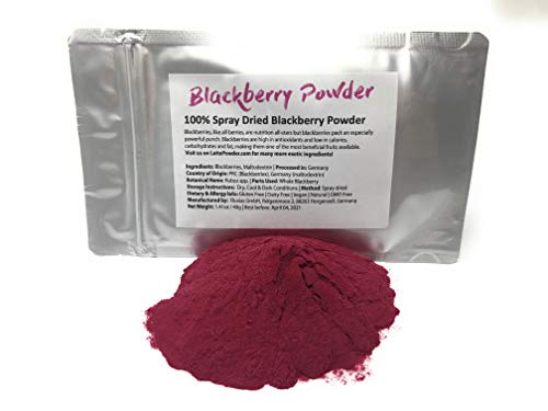 Organic Blackberry Powder from Germany - All Natural Blackberry Dust - Add To Cereal, Porridge, Yogurt, Smoothies or use in Baking. No Added Flavoring Or Coloring. Net Weight: 1.4oz / 40g