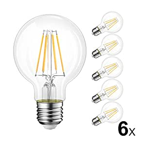 LVWIT Bombillas Globo de Filamento LED E27 (Casquillo Gordo) - 6W equivalente a 60W, 800 lúmenes, Color blanco cálido 2700K. Bombilla retro vintage, No regulable - Pack de 6 Unidades.