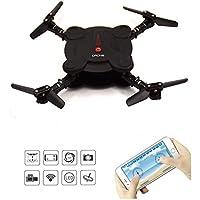 LHI Quadcopter Drone with FPV Camera and Live Video - Flexible Foldable Aerofoils - App and Wifi Phone Control UAV- Camera Altitude Hold Mode RC Quacopter RTF --Black