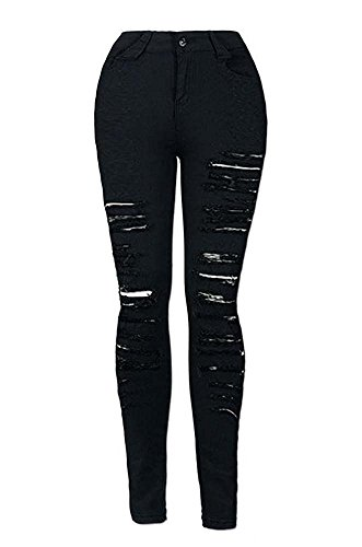 negro De Desgarrados Jeans Ajustados Mujeres Mezclilla Huateng Para C8q6S