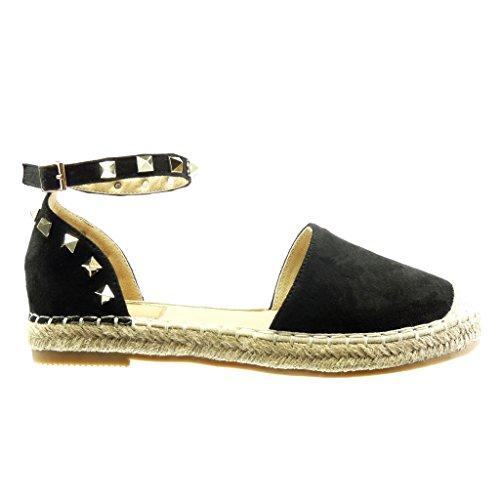 Angkorly - Chaussure Mode Espadrille Sandale ouverte femme clouté corde lanière Talon bloc 2 CM - Noir