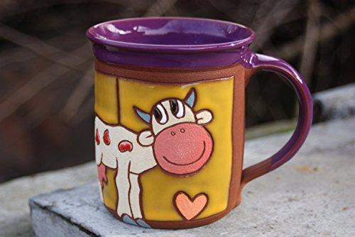 - Handmade ceramic mug with cow, Coffee Mug, Pottery Teacup, Funny Cup, Art Mug, Cow cup