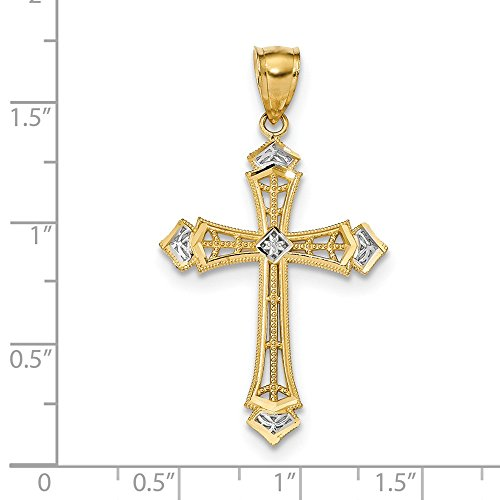 - 14k w/Rhodium Diamond-cut Cross Pendant 41.55 mm