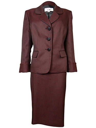 Weave Suiting (Le Suit Black Dot-Weave Women's Three-Butto Skirt Suit Red 6)