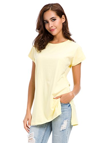 (Womens Loose Fitting Side Slit Tops Tunic Bat Sleeve T Shirts Yellow)