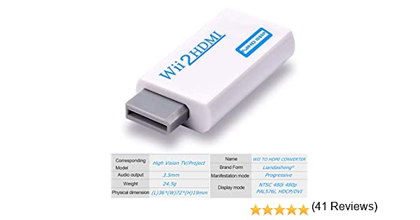 Adaptador de Wii a HDMI, Conector convertidor de Wii a HDMI con Salida de vídeo Full HD 1080p/720p y Audio de 3,5 mm, Compatible con Todos los Modos de visualización Wii: Amazon.es:
