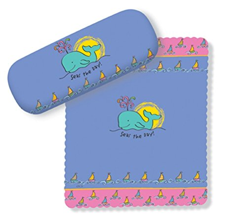 (Seas the Day Whimsical Whale Eye Glasses Case and Lens Cloth)