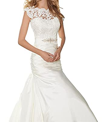 Peacock Princess Cap Sleeves Trumpet Lace Wedding Dresses with Crystal