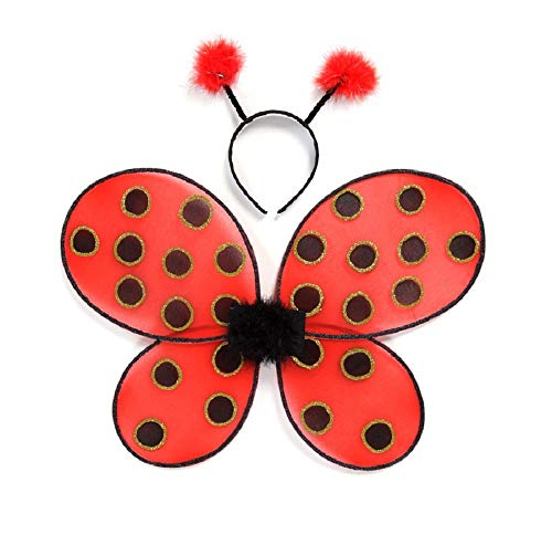 Creative Education of Canada Great Pretenders Ladybug Wings with Headband, Red/Black (One Size)]()