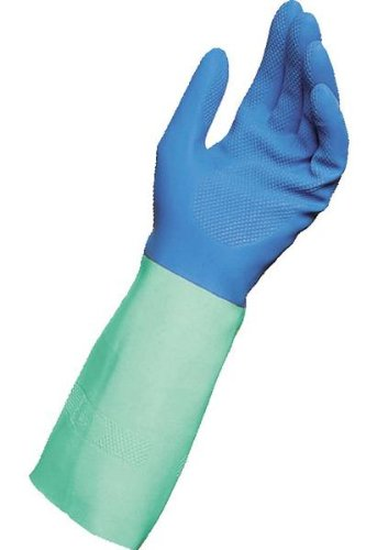 MAPA ProTector AFR-282 Natural Latex Blended Nitrile Glove, Chemical Resistant, 0.026'' Thickness, 13'' Length, Size 9, Blue/Green (Pack of 12 Pairs)