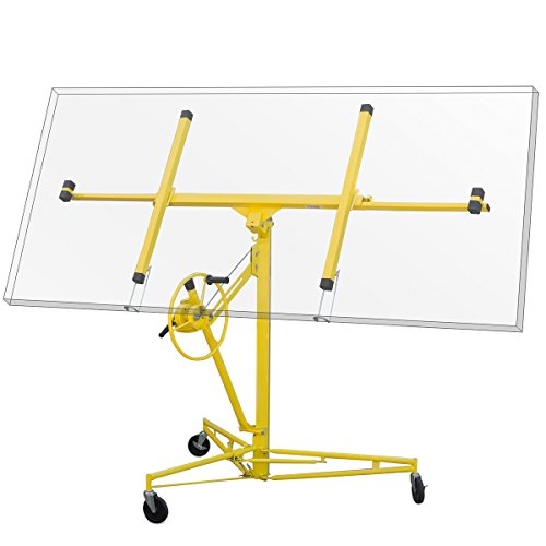 Yellow Side Panels - 11' Drywall Rolling Lifter Panel Hoist Jack Caster Construction Tool, Yellow