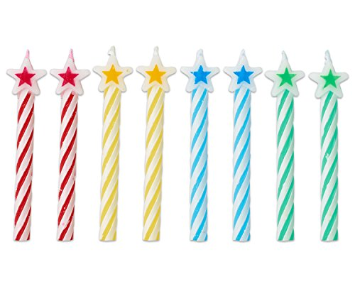 Cake Star Birthday (Spiral Star-Tipped Birthday Candles | Assorted Colors | Party Supply)