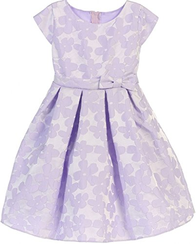 Cummerbund Lilac (Big Girls' Raised Daisy Jacquard Bow Easter Flowers Girls Dresses Lilac 12)