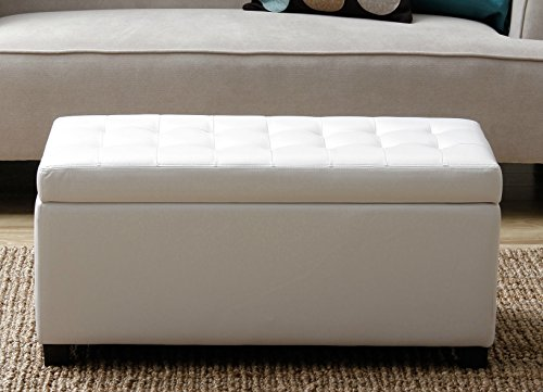 Modern-Versatile-Rectangular-Storage-Bench-Faux-Leather-Tufted-Oakwood-Ottoman-White